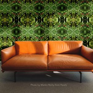 Leather Couch Cattail Geo wallpaper repeat